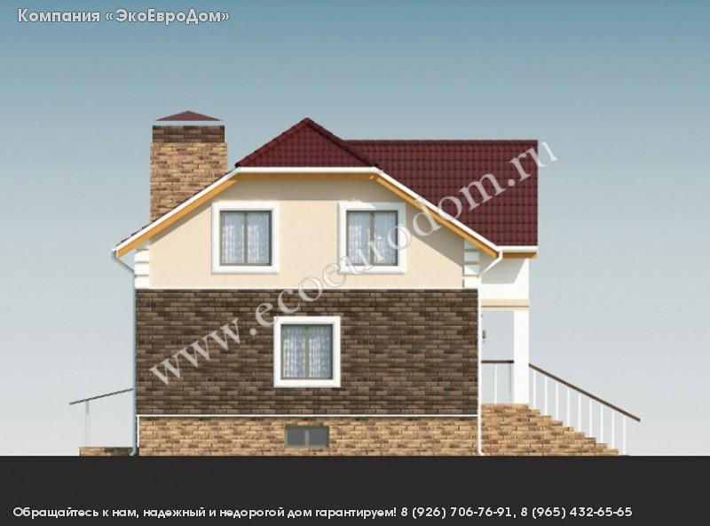 Проект дома из sip-панелей 22-38 с крыльцом и мансардой.