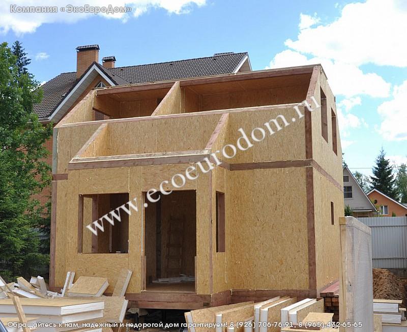 Строительство дома из сип панелей площадью 93 кв.м с крыльцо.